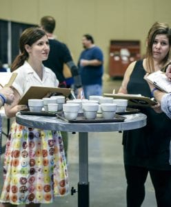 Mandy Spirito, director of coffee at Halfwit Coffee Roasters cupping coffees