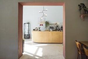 minimalistic coffee shop interior