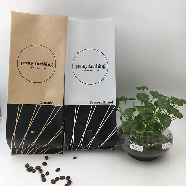 Kraft paper and white gusset coffee bags