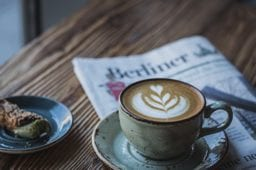 latte and newspaper