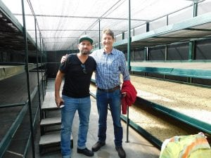 ricardo pereira and pablo guerrero in a drying station
