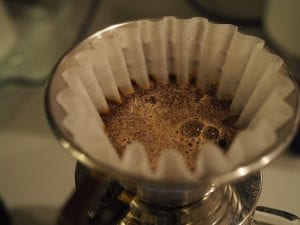 brewing coffee in a kalita wave