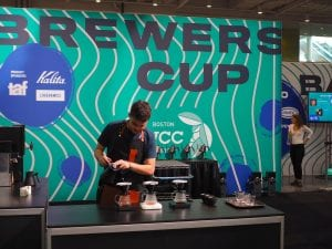 Miguel Candel presenting at the brewers cup competition
