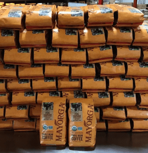 retail bags of Mayorga Organics coffee