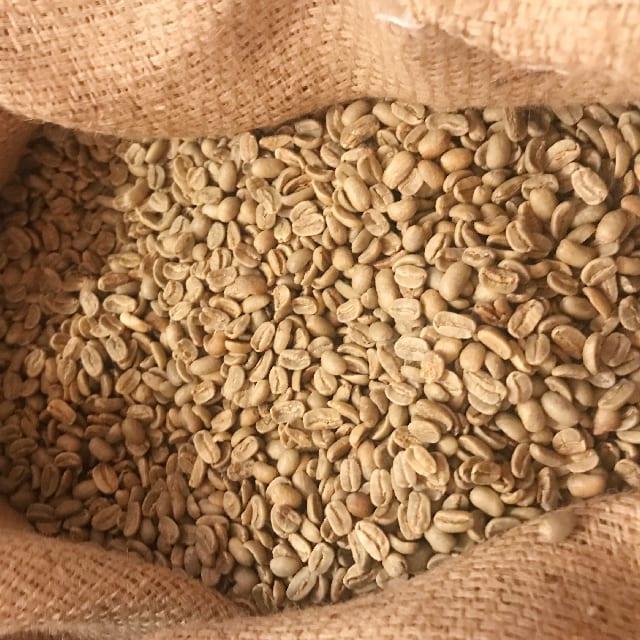 Sacos de granos de cafe verde